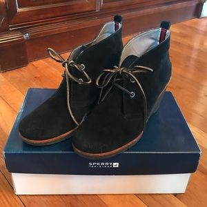 Sperry Black Suede Harlow wedges